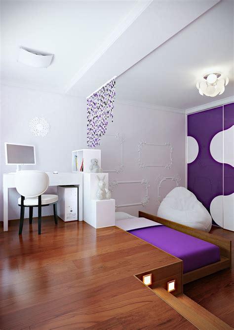 purple white modern bedroom hideaway bed interior design ideas
