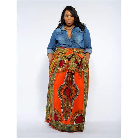 african attire skirt african dashiki print maxi skirt orange