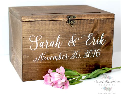 Wooden Gift Card Box - wood wedding card box with lid wedding money box wedding