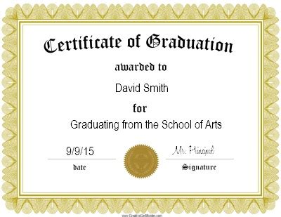 download graduation certificate template printable