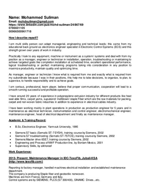 Maintenance Supervisor Resume by Maintenance Manager Cv