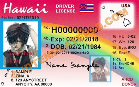 hawaii id card template this is hawaii usa state drivers license psd photoshop
