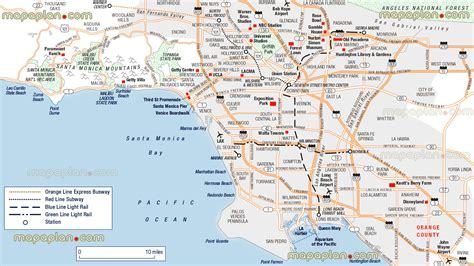 los angeles map usa los angeles top attractions map