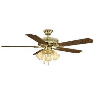 Polished Brass Ceiling Fan Hton Bay Hl52qv P 3lc14 Landmark Plus 52 In Indoor
