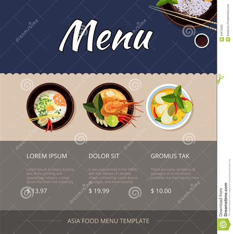 thai food menu vector template design stock vector image