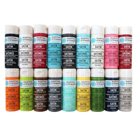 martha stewart crafts 2 oz 18 color multi surface satin acrylic craft paint set promo767c the