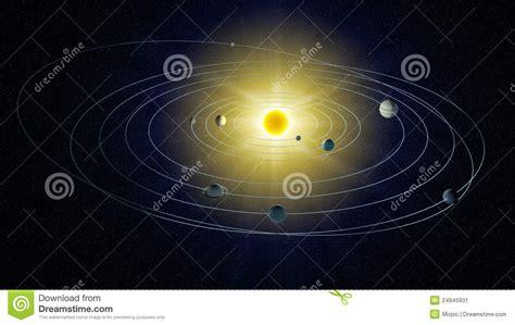 stylized view   solar system stock illustration