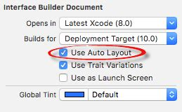 xcode auto layout disable working with ios 10 auto layout constraints in interface
