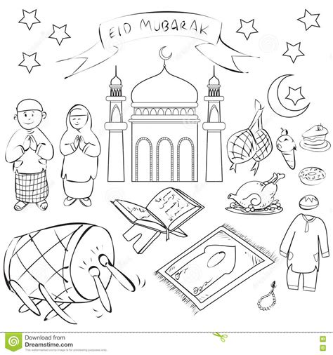 doodle islam doodle character for muslim vector