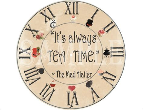 mad hatter clock printable kit steunk aged tea quot it s always tea time quot in