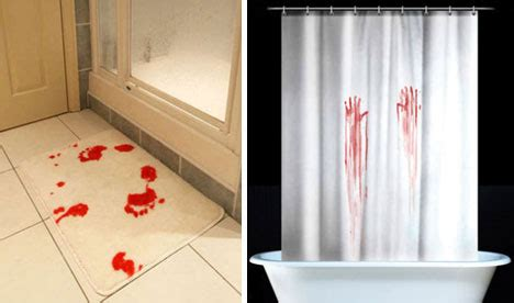 bloody shower curtain and bath mat interiordesignet bloody brilliant 10 blood themed design ideas