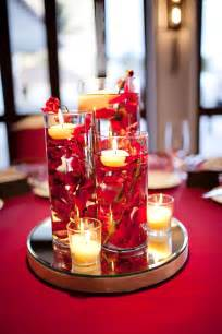 Red Flower Centerpieces - our diy red wedding submerged floral centerpieces