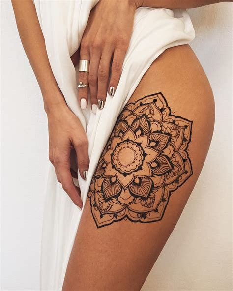 henna tattoo on thigh krasovska on instagram mandala morning