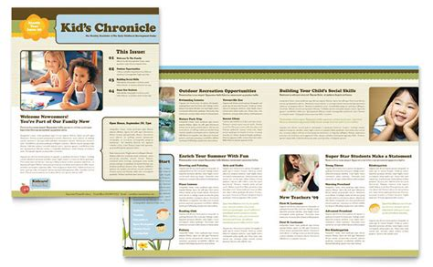 free newsletter templates for publisher child development school newsletter template design