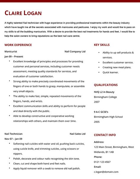 Manicurist Resume by Manicurist Cv Exle Hashtag Cv