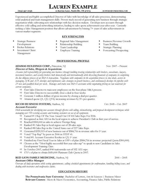 sle of resume profile sales manager resume sle canada professional profile