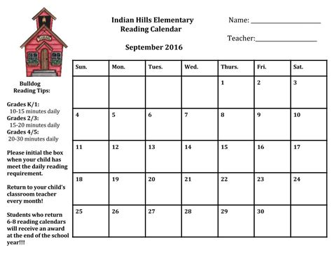 printable monthly reading calendar monthly reading calendars 5th grade indian hills elementary
