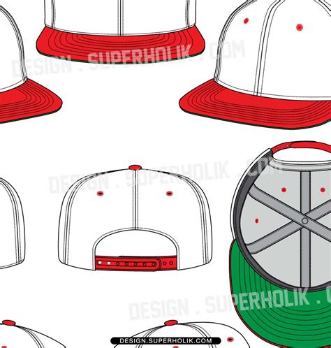 The Gallery For Gt Fitted Hat Drawing Snapback Design Template