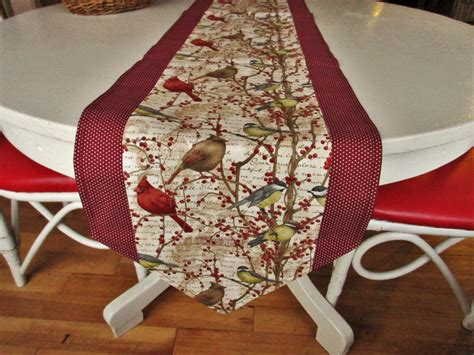Handmade Table Runner - cardinal table runner handmade table runner 70 cotton