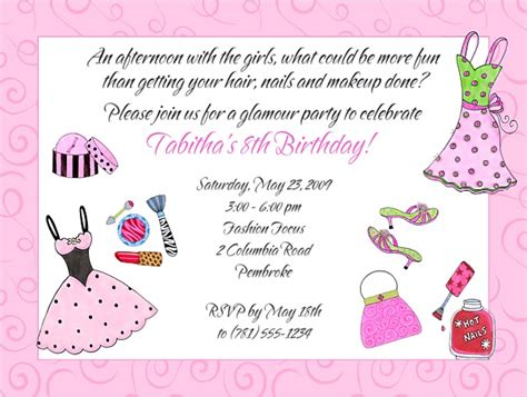 birthday themes dress up glamour girl makeup dress up birthday party invitations
