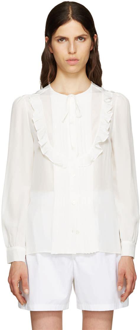 Blouse Miumiu 2w miu miu white ruffle blouse ssense