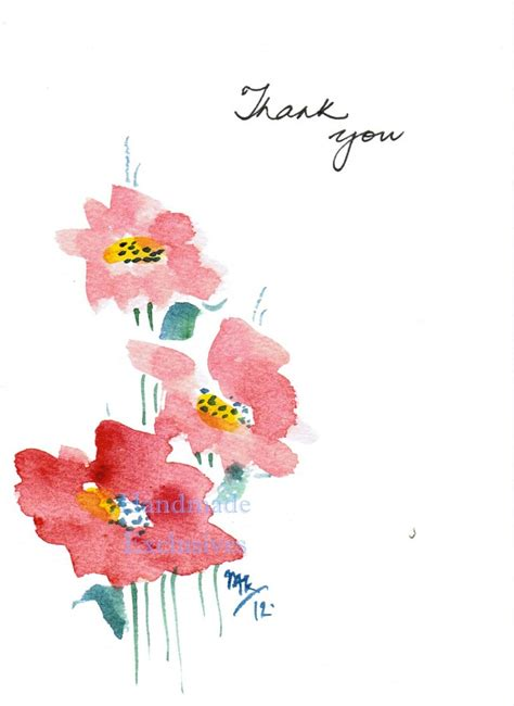 handpainted greeting cards set of 10 flowers thank you original watercolor