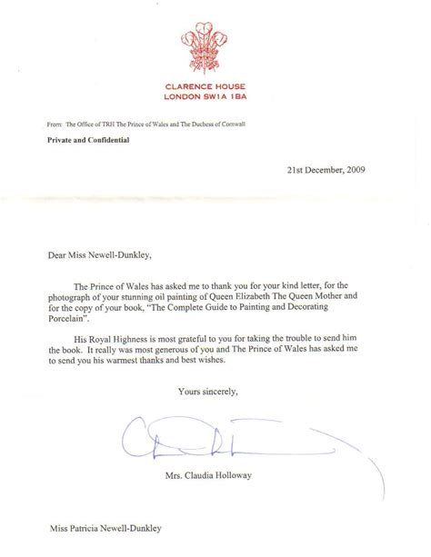 Acknowledgement Letter Home Office A Royal Acknowledgement From Clarence House Newell Dunkley Accomplished