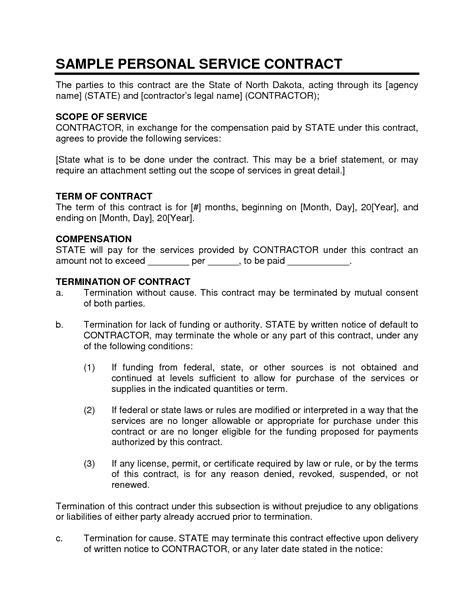 personal services agreement template service contract sle personal service contract 1