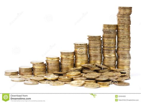 stacks of coins in a success graph stock photo image