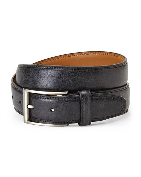 izod black distressed leather belt in black for lyst