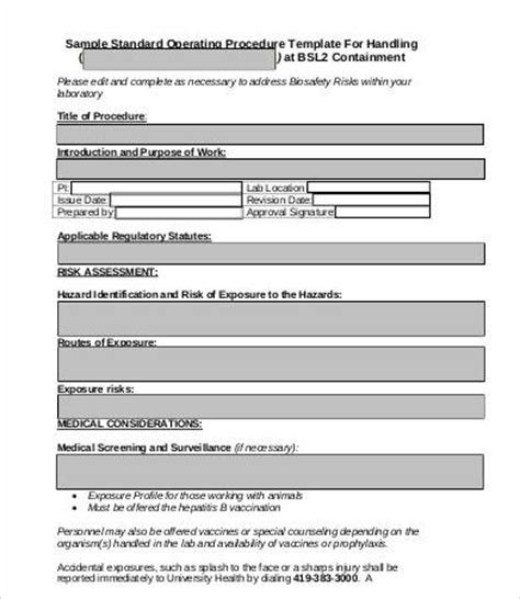 standard operating procedure template 8 free word pdf