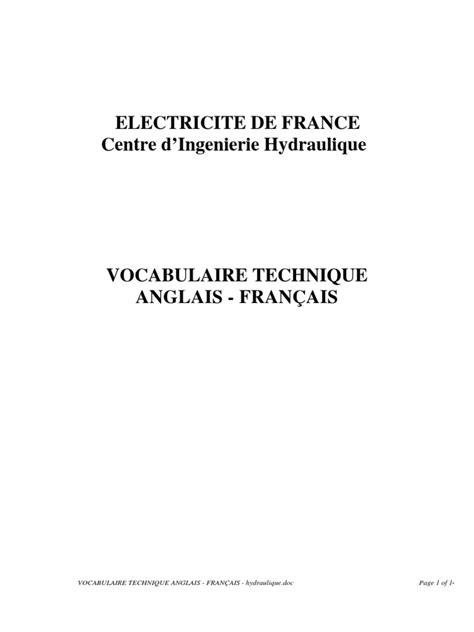 VOCABULAIRE TECHNIQUE ANGLAIS - FRANÇAIS - hydraulique