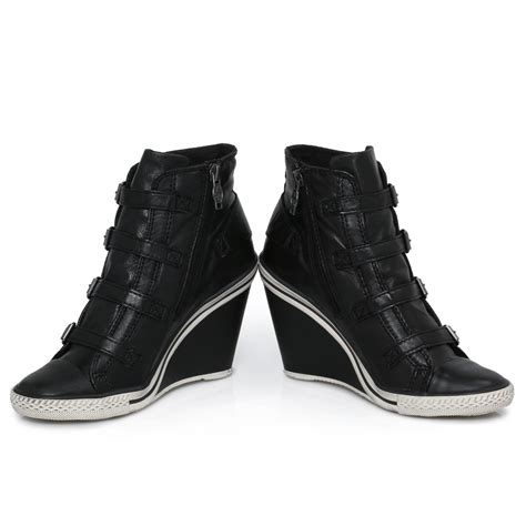 ash thelma black leather womens wedge trainers shoes size