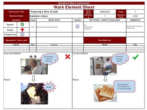 standard work instruction for toast kaizen 1 1