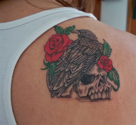 raven with rose tattoo n picture