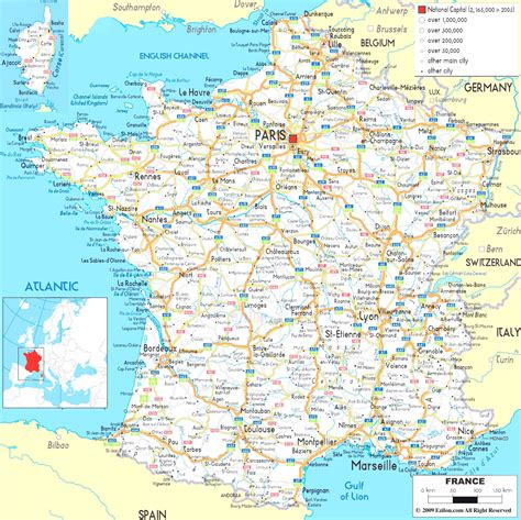 large printable road maps large map of france bing images