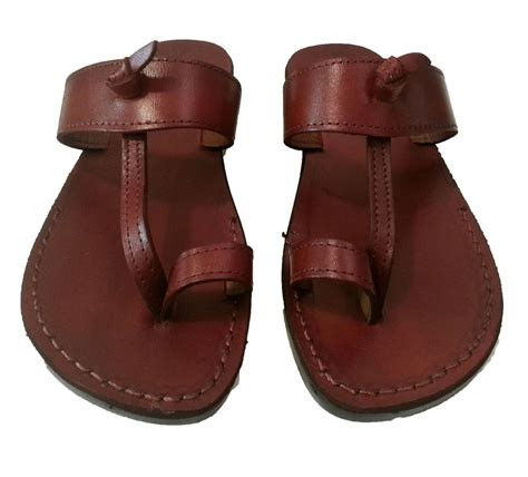 jesus sandals mens jesus sandals brown leather flats from holy land for