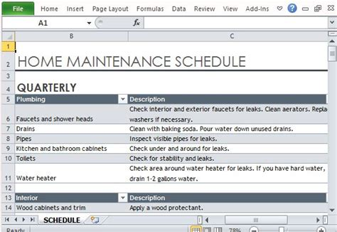 home maintenance schedule maker template for excel