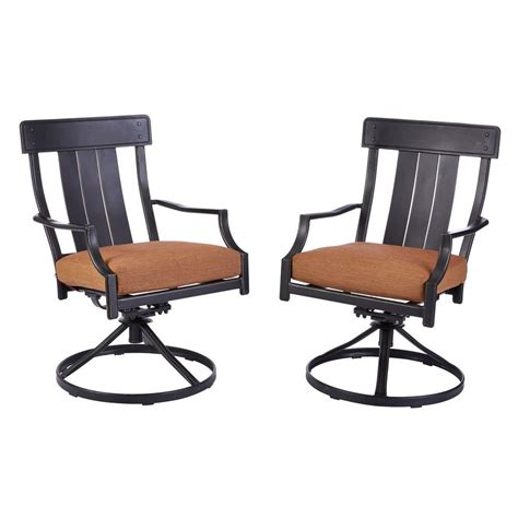 Motion Patio Chairs Hton Bay D12237 Ds Oak Heights Motion Metal Outdoor Patio Dining Chairs With Cashew Cushions