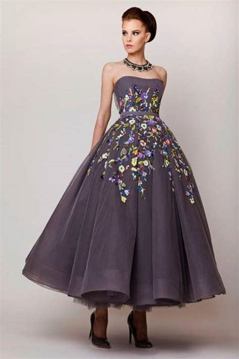 Strapless Tea Length Ball Gown Prom Dresses Celebrity 2016 Embroidery Evening Gown Long For