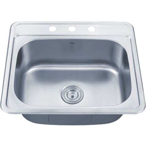 25 inch kitchen sink kraus ktm25 25 inch topmount single bowl 18