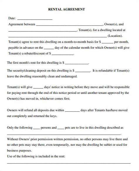 rental agreement template free leasing agreement 7 free pdf