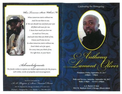 anthony lamont oliver obituary aa rayner and sons