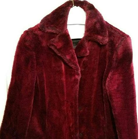 wine colored coat jackets coats wine colored faux fur coat size small