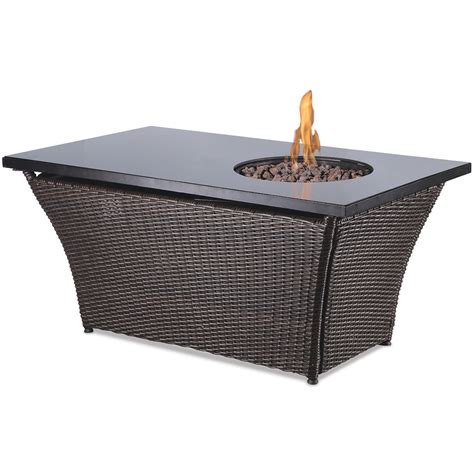 Propane Patio Table Shop Endless Summer 48 In W 50 000 Btu Black Glass And Brown Wicker Steel Liquid Propane