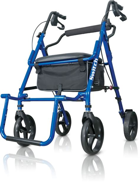 hugo walker transport chair hugo 174 switch pacific blue 2 in 1 rolling walker and