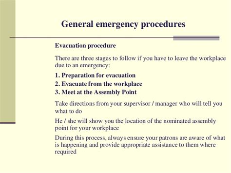 emergency procedures in the workplace template workplace safety and security hotel ppt