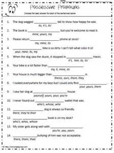 possessive pronoun worksheet 6th grade english reading
