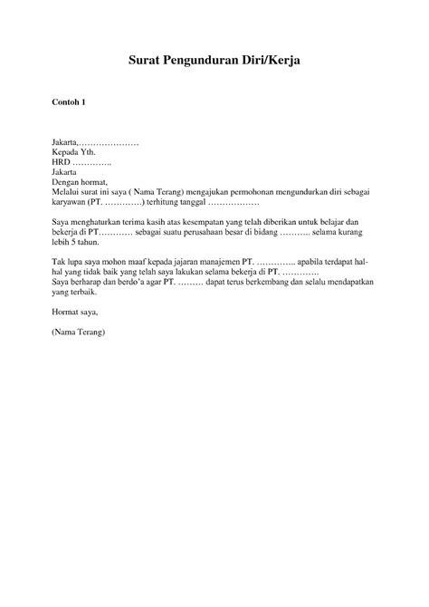 format surat pengunduran diri kerja contoh surat pengunduran diri kerja resmi surat resign