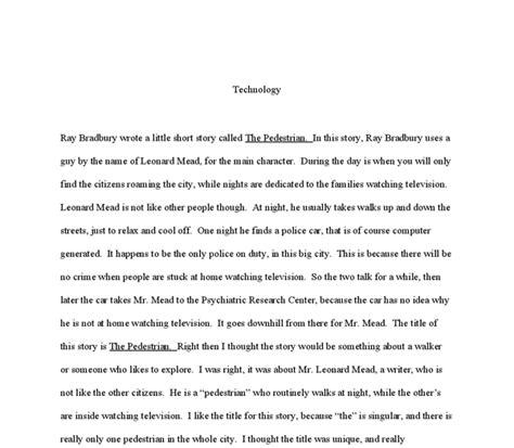 The Pedestrian By Bradbury Essay by Bradbury Wrote A Story Called The Pedestrian A Level Marked By